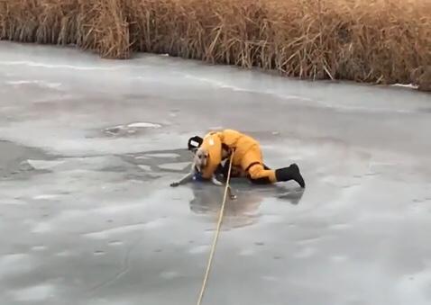 Bombeiro tira cachorro de riacho congelado no Canadá